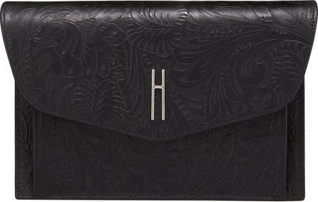 Hayward Bobby Black Tooled Leather Clutch Bag