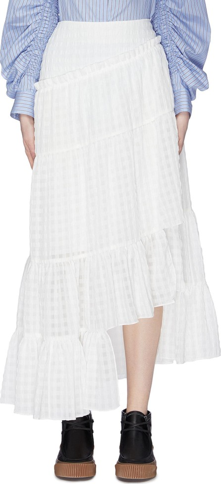 3.1 Phillip Lim Asymmetric ruffle tiered check skirt