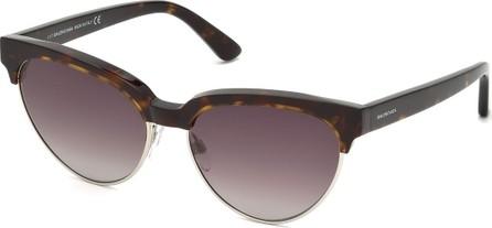 Balenciaga Tortoise Cat-Eye Semi-Rimless Sunglasses, Brown