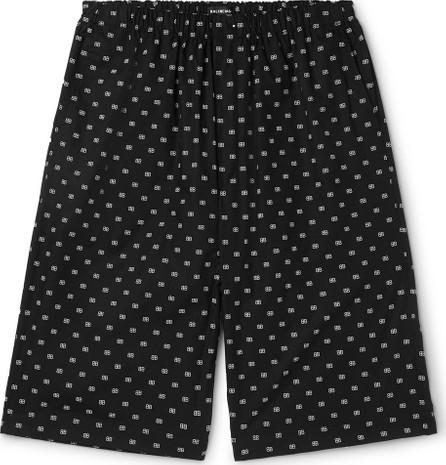 Balenciaga Logo-Jacquard Cotton-Poplin Shorts
