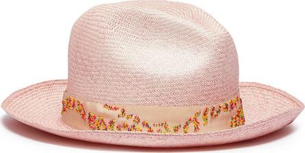 My Bob Beaded straw fedora hat