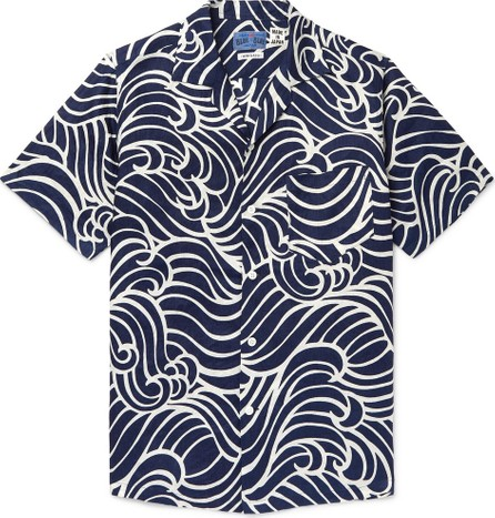 Blue Blue Japan Camp-Collar Printed Linen Shirt
