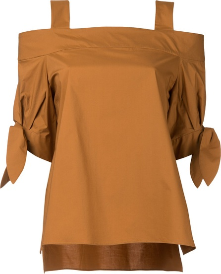 Estnation tied sleeve cold shoulder top