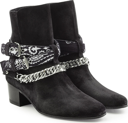 Amiri Bandana Buckle Suede Ankle Boots