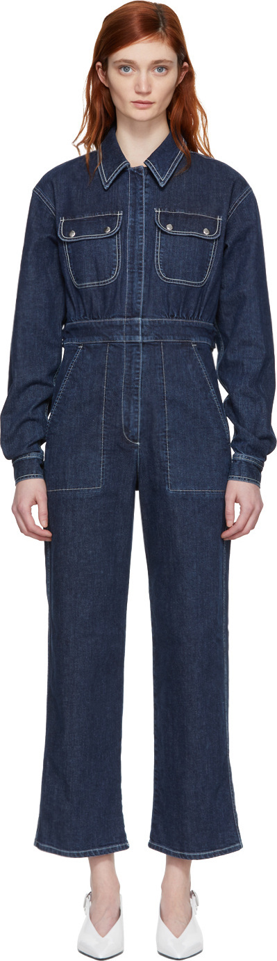 Alexachung Blue Denim Oversized Boiler Suit