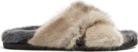Weekend Max Mara Crossover strap mink-fur slides