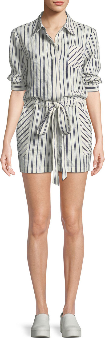 MILLY Charlie Striped Linen-Blend Romper