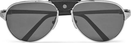 Cartier Santos de Cartier Aviator-Style Leather-Trimmed Silver-Tone Sunglasses