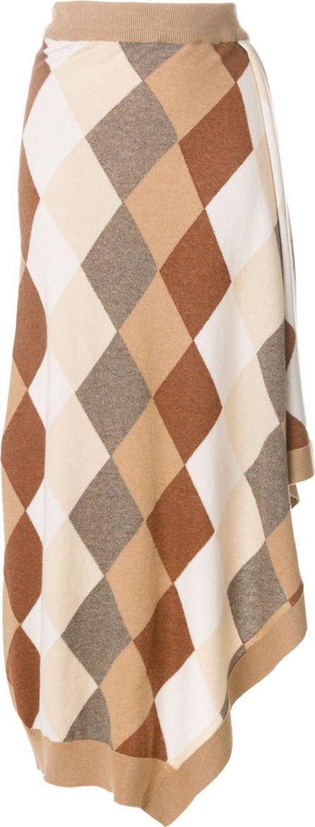 Pringle of Scotland asymmetric argyle knit skirt
