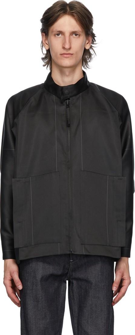 132 5. Issey Miyake Black & Grey Stitched Flat Jacket