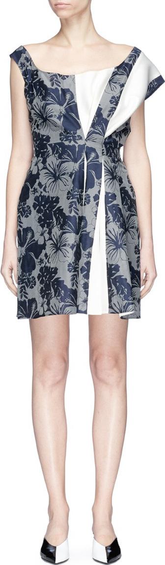 Stella McCartney Colourblock pleated floral print dress