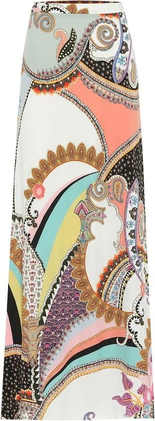 Etro Paisley-print crêpe maxi skirt