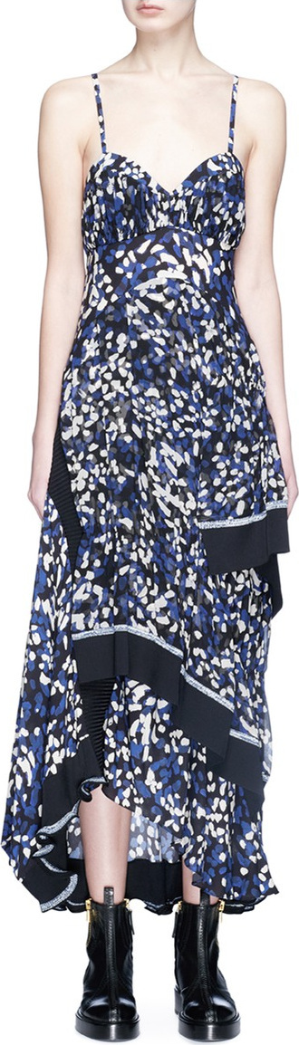 3.1 Phillip Lim Brushstroke print asymmetric tiered silk crepe dress