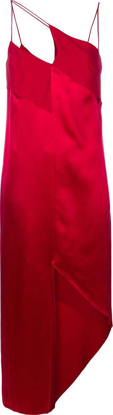 Diagonal-strap shift dress