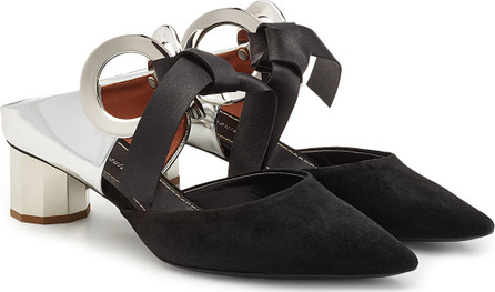 Proenza Schouler Ribbon Tie Suede Mules with Leather