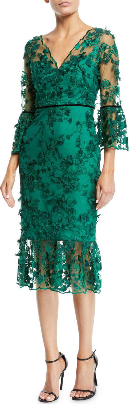 Marchesa Notte Bell-Sleeve Embroidered 3D Flower Dress