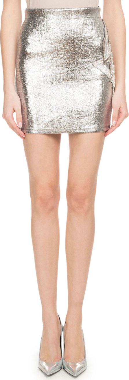 Balmain Metallic-Coated Fitted Mini Skirt w/ Side Patch