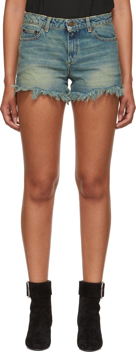 Saint Laurent Blue Mini Denim Shorts