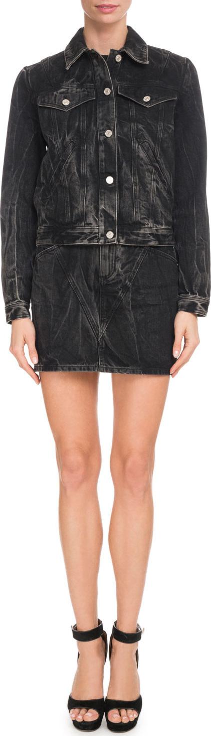 Givenchy Marble-Washed Denim Jacket w/ 4G Logo on Back