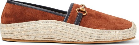 Gucci Matador Horsebit Leather-Trimmed Suede Espadrilles