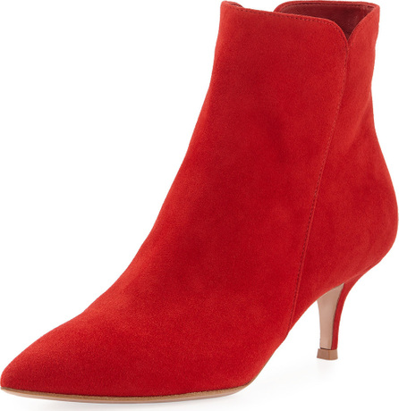 Gianvito Rossi Suede Pointed-Toe Bootie