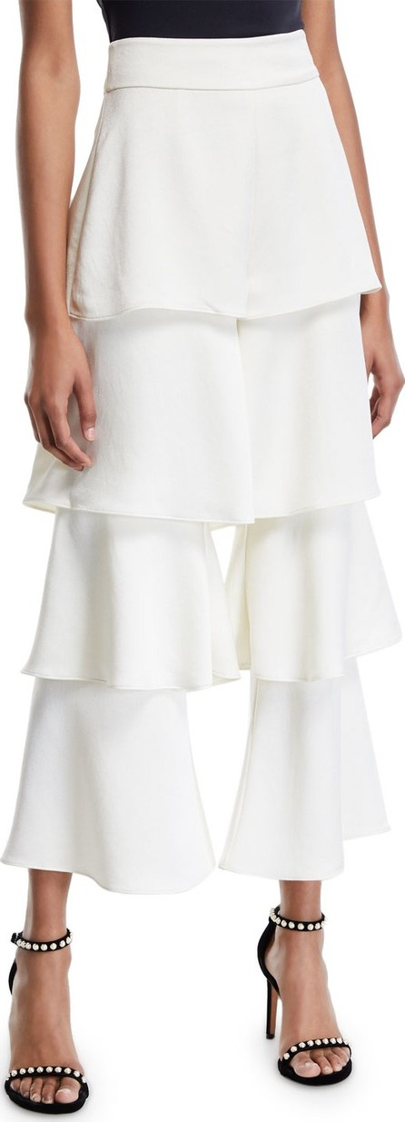 Alexis Parris Tiered Flare-Leg Cropped Pants