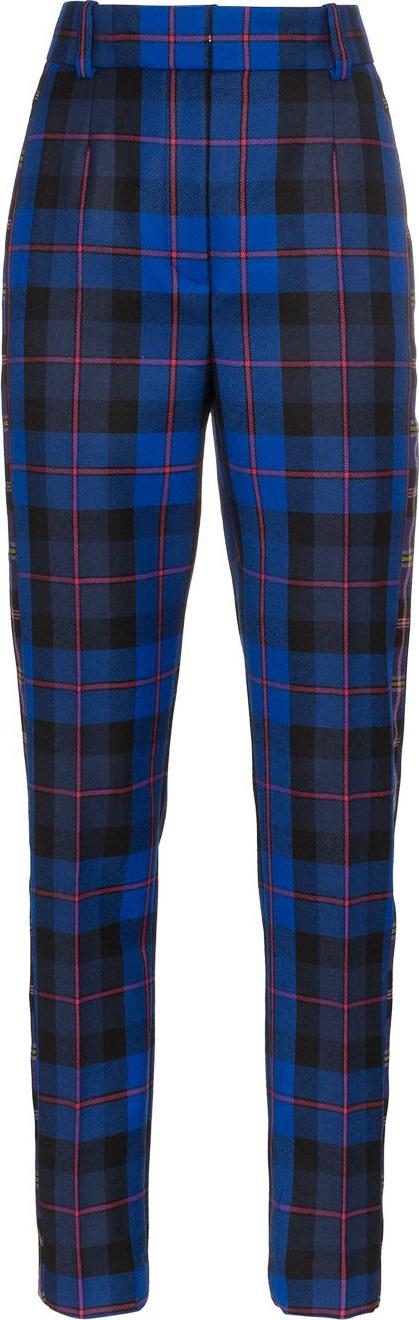 Versace High-Waisted Skinny Plaid Trousers