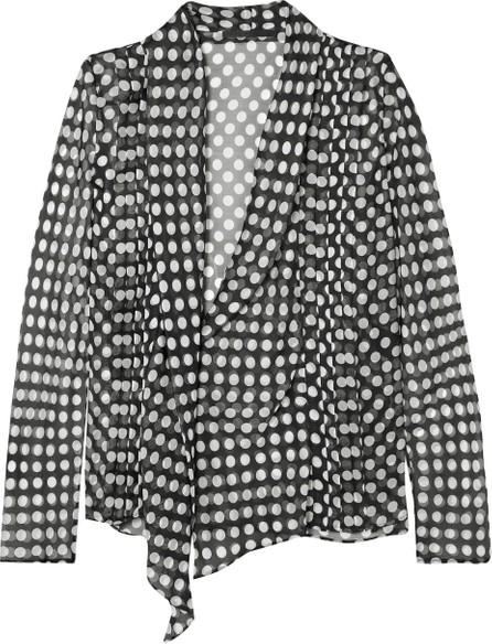 Haider Ackermann Pleated polka-dot silk-chiffon wrap blouse