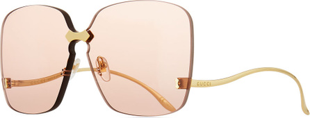 Gucci Rimless Square Low-Temple Polarized Sunglasses