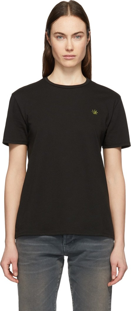 6397 Black Embroidered Leaf Boy T-Shirt