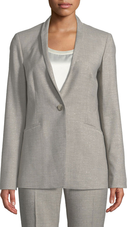Lafayette 148 New York Darcy One-Button Stardust Wool Suiting Jacket