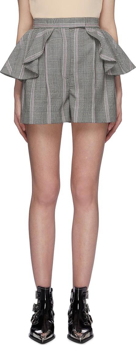 Alexander McQueen Ruffle waist houndstooth check plaid virgin wool shorts