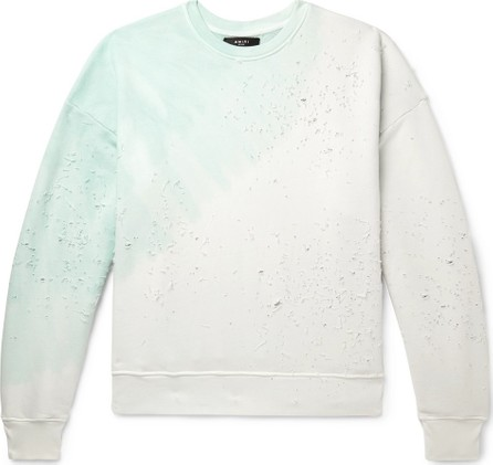 Amiri Distressed Tie-Dyed Loopback Cotton-Jersey Sweatshirt