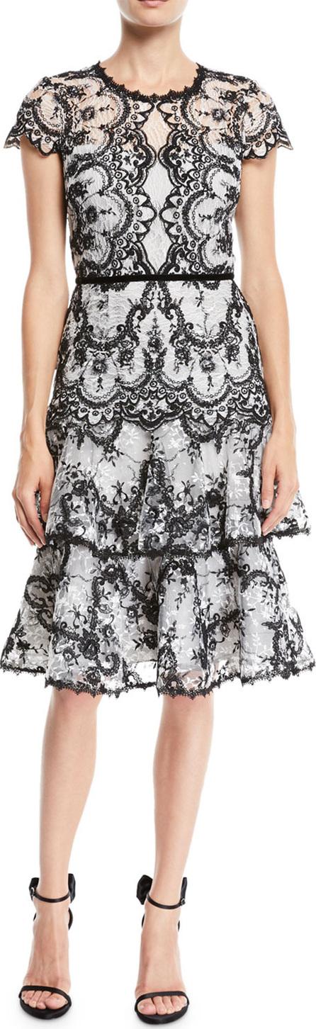 Marchesa Notte Corded Lace Dress w/ Embroidery & Velvet Trims
