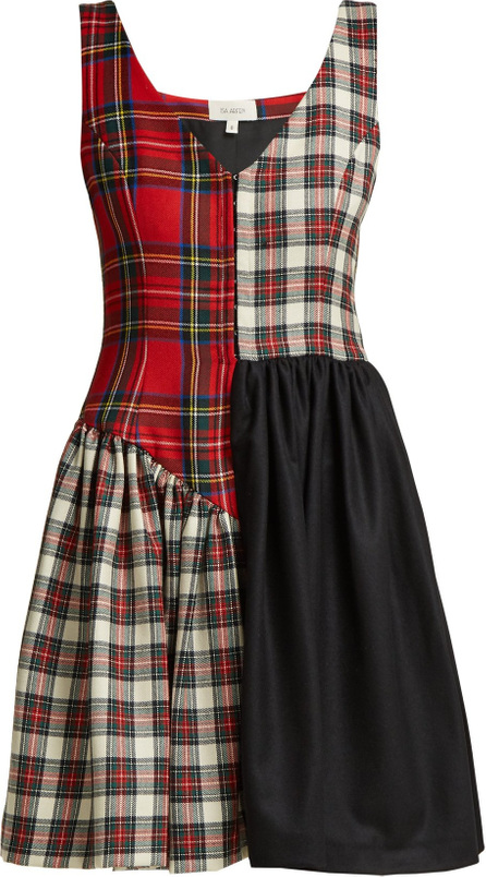 Isa Arfen Elsi patchwork tartan-wool dress