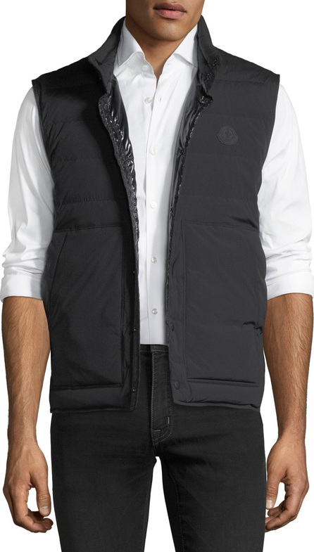 Moncler Matte Merak Vest w/ Shiny Lining, Black