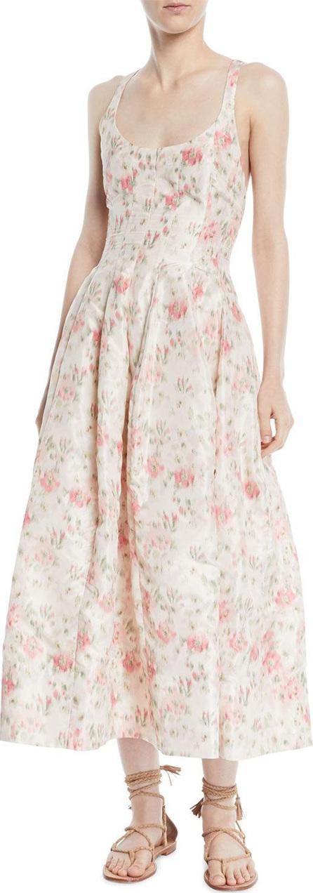 Brock Collection Daphne Scoop-Neck Sleeveless Cherry Blossom-Print Long Dress