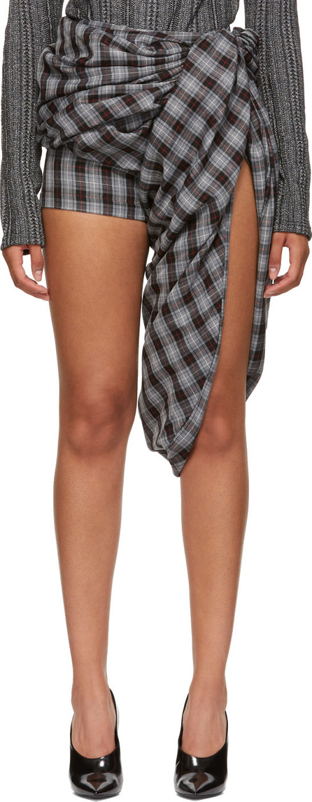 Y/Project Grey & Red Draped Shorts