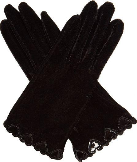 Agnelle Heart-appliqué velvet gloves