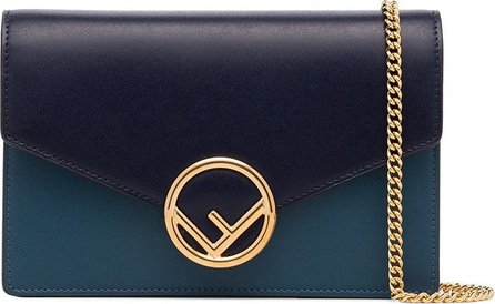 Fendi Blue and grey logo leather wallet on chain