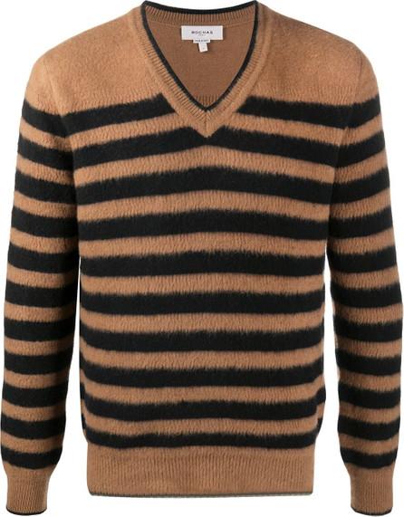 ROCHAS Striped V-neck jumper