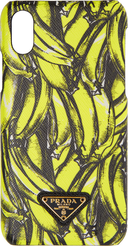 Prada Black & Yellow Saffiano Banana iPhone X Case