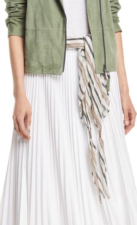 Brunello Cucinelli Striped Linen-Blend Necklace Scarf