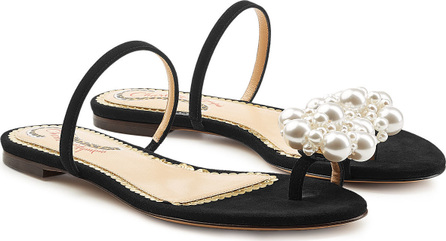 Charlotte Olympia Ora Suede Sandals with Pearl Embellishment