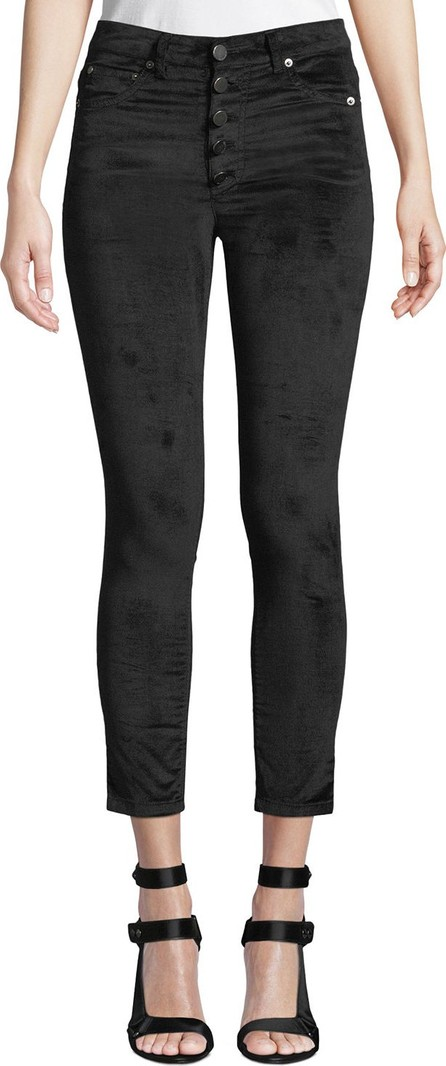 AO.LA by alice + olivia Good High-Rise Button-Fly Velvet Skinny Jeans