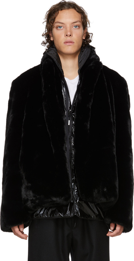 99% Is Black Layered Faux-Fur Coat