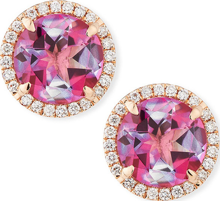 Frederic Sage 18K Rose Gold Pink Topaz Diamond Halo Stud Earrings