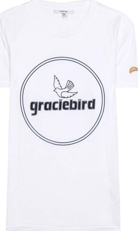 Ganni Perrin Lyocell printed cotton T-shirt
