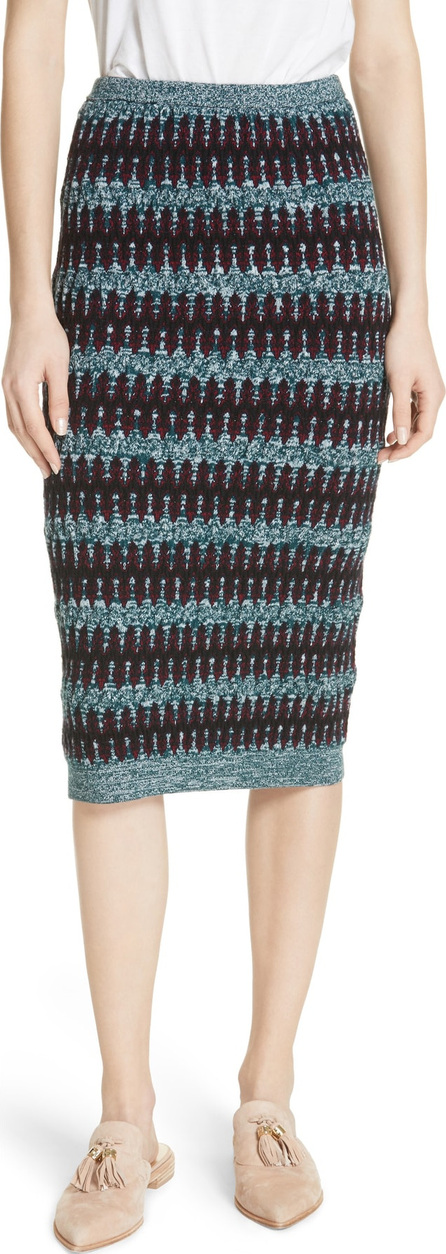 Carven Stripe Merino Wool & Cotton Skirt
