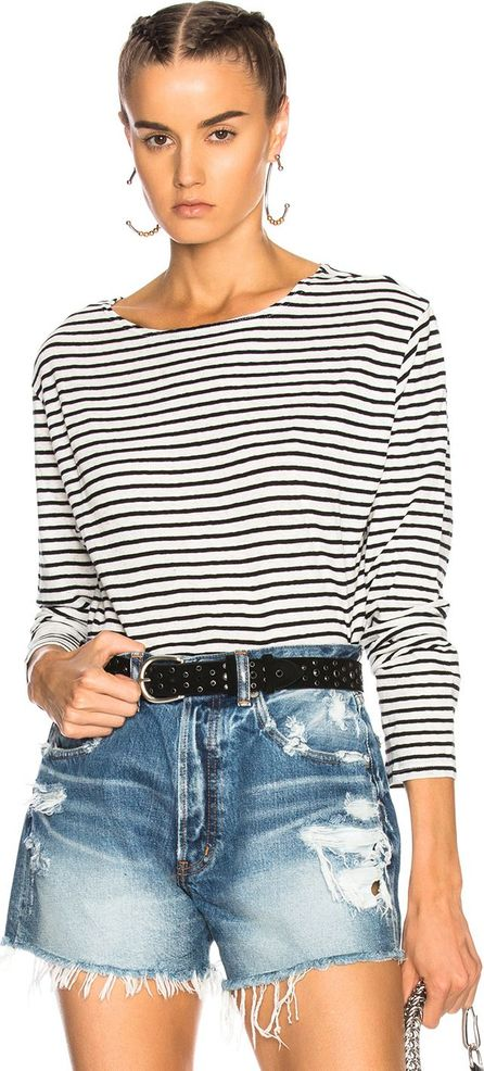 R13 Long Sleeve Boat Neck Top